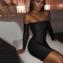 Load image into Gallery viewer, Chicology metallic glitter sparkle off shoulder long sleeve bodycon mini party dress 2019 autumn winter women sexy clothes