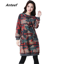 Load image into Gallery viewer, long sleeve plus size woolen vintage print women casual loose midi spring autumn winter dress elegant clothes 2020 dresses