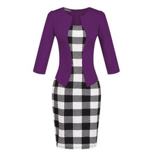 Load image into Gallery viewer, New Fashion Spring Autumn Style Women Formal Bodycon Dress Elegant Plus Size Plaid Pencil Dresses Office Wear Women Work Clothes
