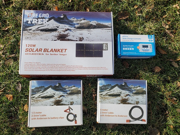 120W Solar Blanket Bug Out Package to charge your 12V/24V vehicle or trailer batteries + No US Sales Tax! - Off Grid Trek