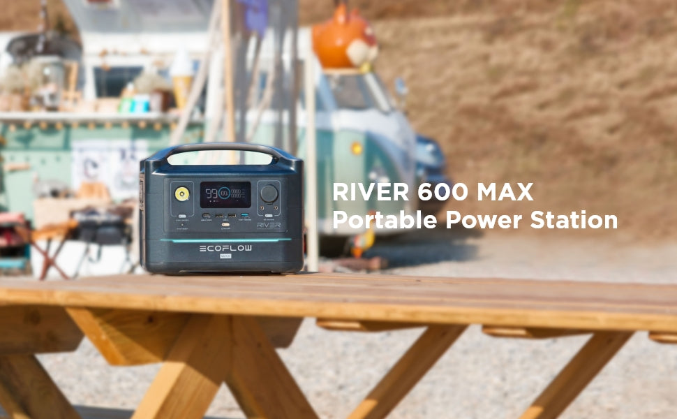 EcoFlow RIVER 600 Max | 576Wh / 600W (1200W Peak) Portable Power Station - Off Grid Trek