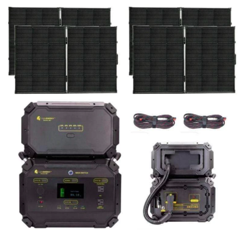 PACKAGE: SAVE 20% Lion Safari ME [GOLD] Kit 2,970Wh Solar Generator & 4 x 100W Solar Panel Suitcases, Free Shipping & no US Sales Tax! - Off Grid Trek