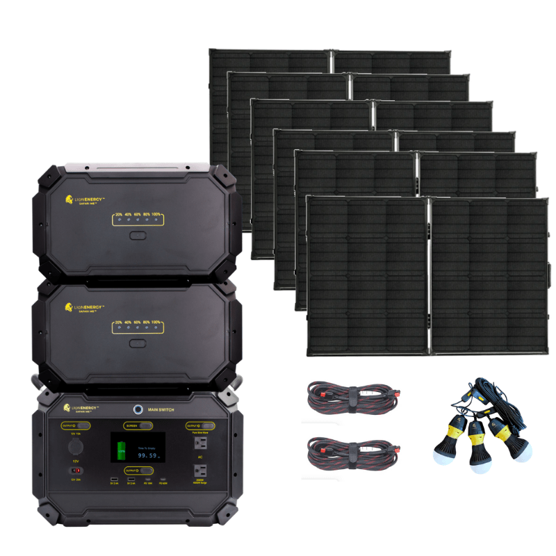 PACKAGE: SAVE 20% Lion Safari ME [Elite] Solar Generator Kit - 5,000Wh &+ 6 x 100W Solar Panel Suitcases, Free Shipping & no US Sales Tax! - Off Grid Trek