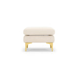 Aurora 3 Seater Sofa & Ottoman Set, White Quartz