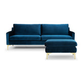 Aurora 3 Seater Sofa with Ottoman Set, Cascadia Blue