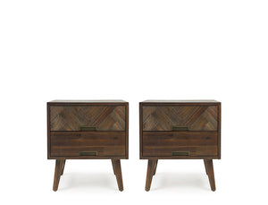 Austin Herringbone Bedside Table, Set of 2