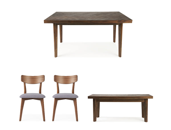 Austin Herringbone Dining Table (160cm) with Bench and 2 Zoey Chairs