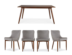 Axel Dining Table (160cm) with 4 Justina Chairs, Light Sand