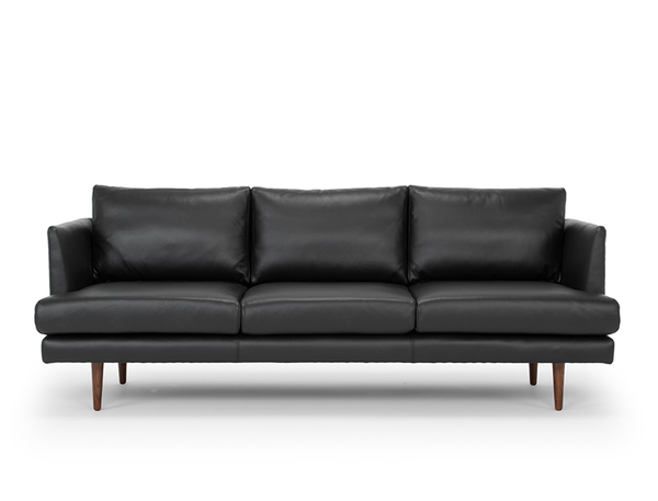 Beckett 3 Seater Leather Sofa, Black