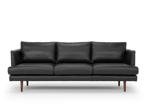 [CLEARANCE] Beckett 3 Seater Leather Sofa, Black