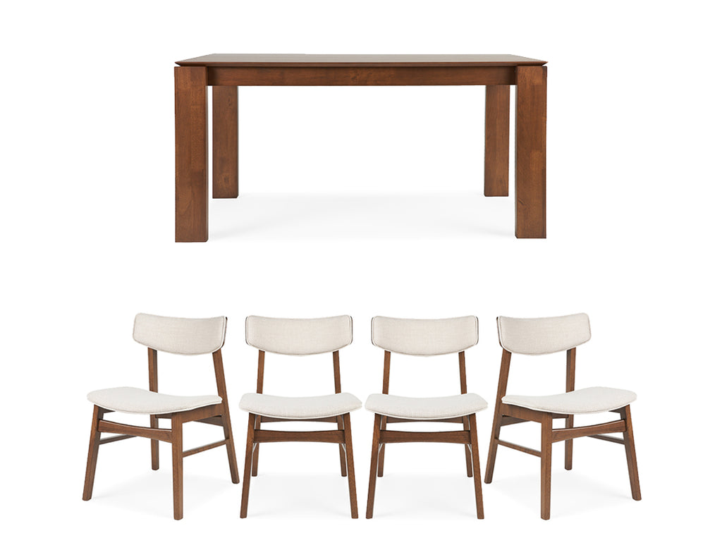 Brooks Dining Table (135cm) with 4 Knox Chairs