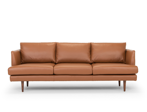 Beckett 3 Seater Leather Sofa, Caramel