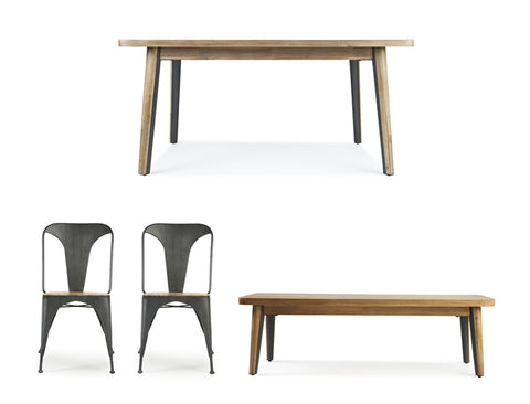 Roxanne Dining Table (160cm) with Bench & 2 Chairs