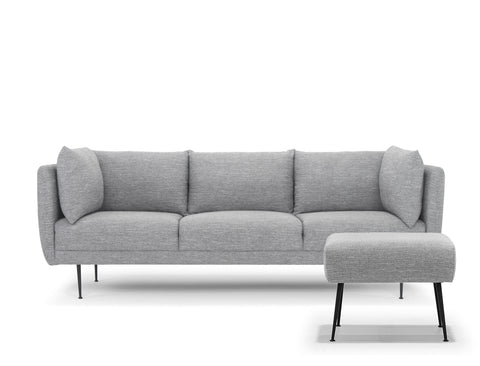 Vera 3 Seater Sofa & Ava Ottoman Set, Gravel Grey