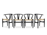 Wishbone Y Chair, Black, Set of 4