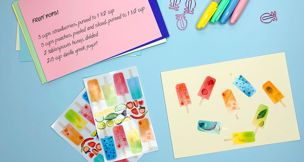 Create delicious fruit pops with stickers!