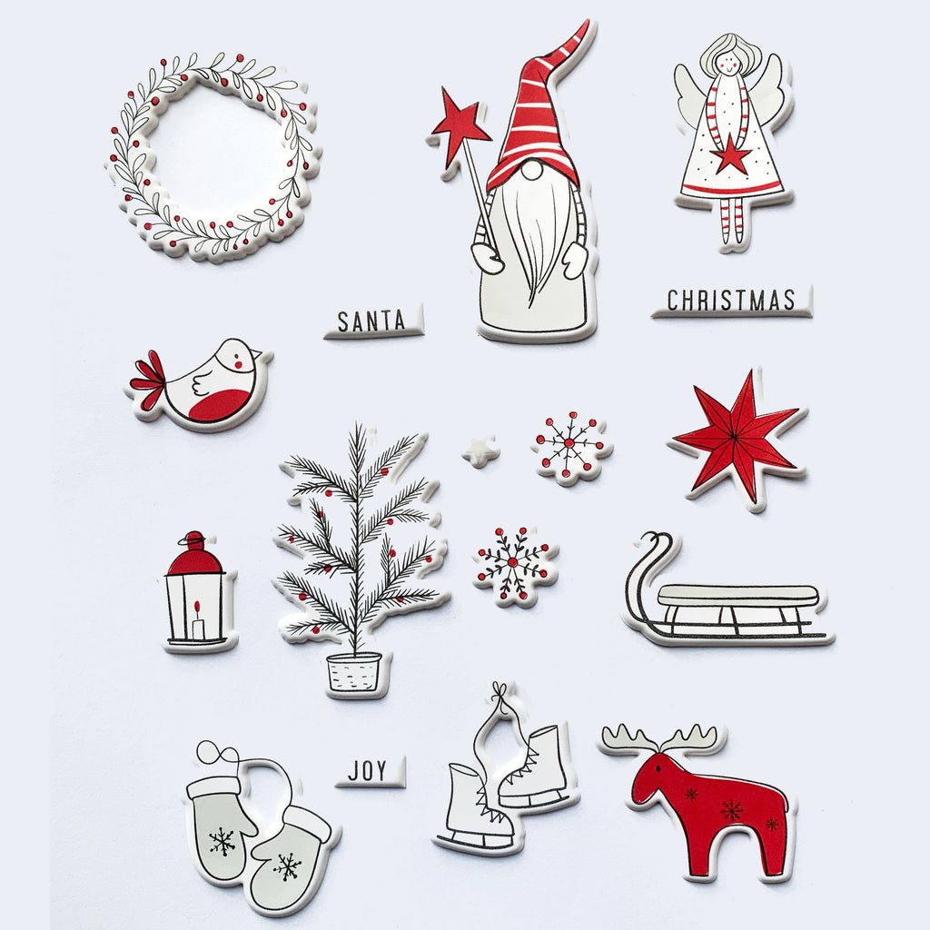 3D White Christmas Sticker Sheet