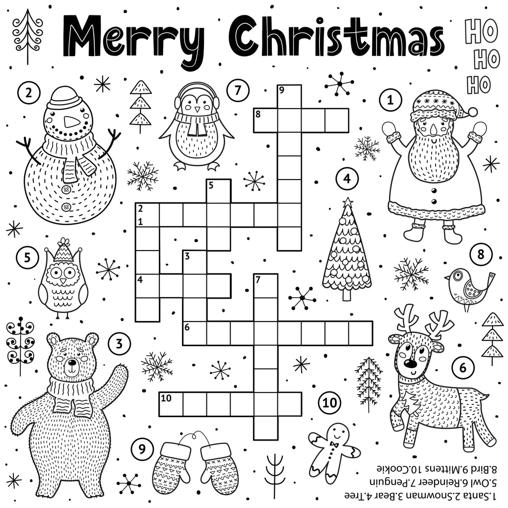 Merry Christmas Colouring-in Crossword PDF Download