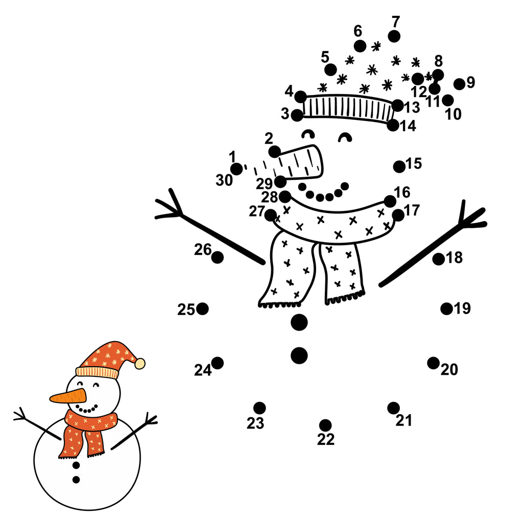 Dot-to-Dot Snowman PDF Download