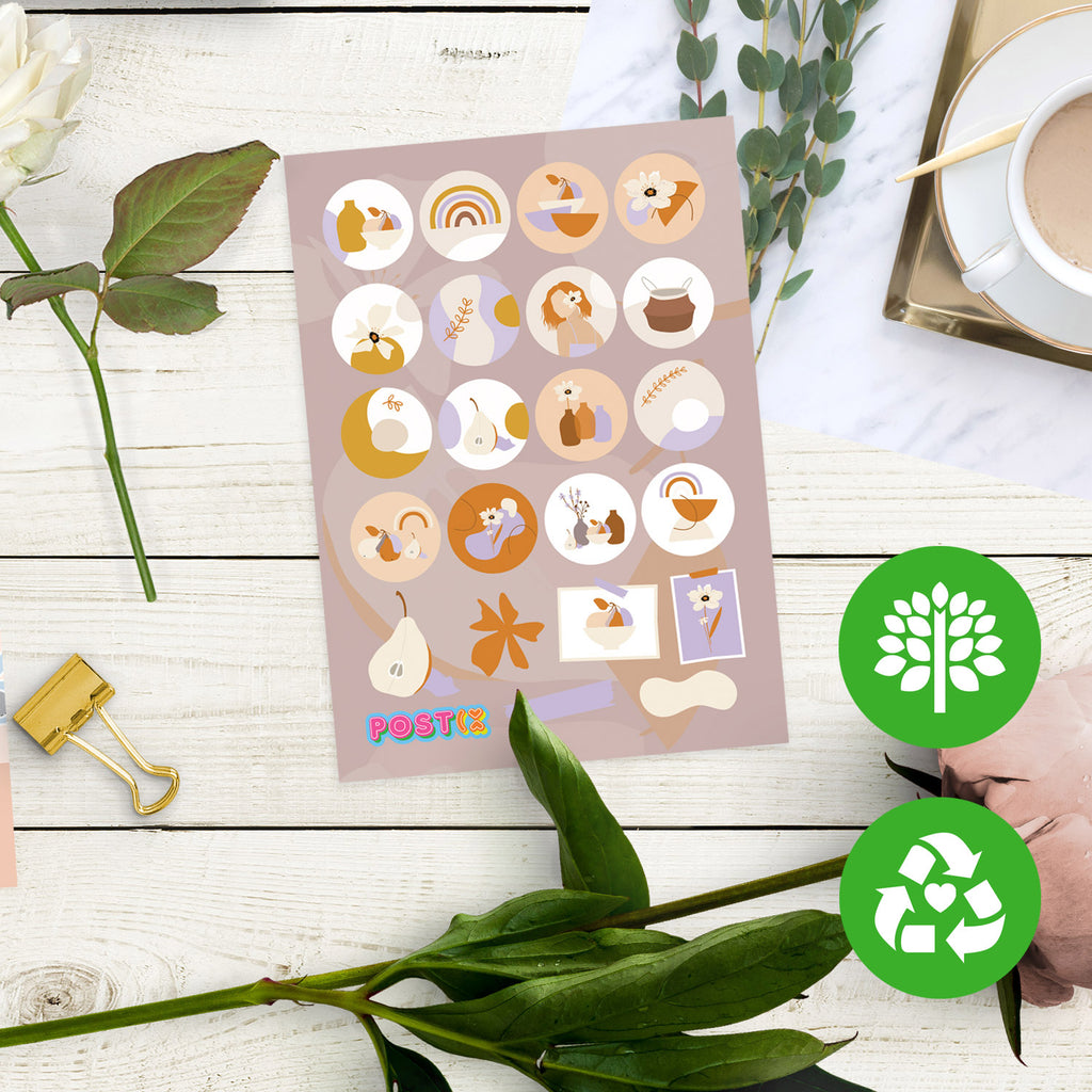 Abstract Spring A7 Eco-Friendly Sticker Sheet