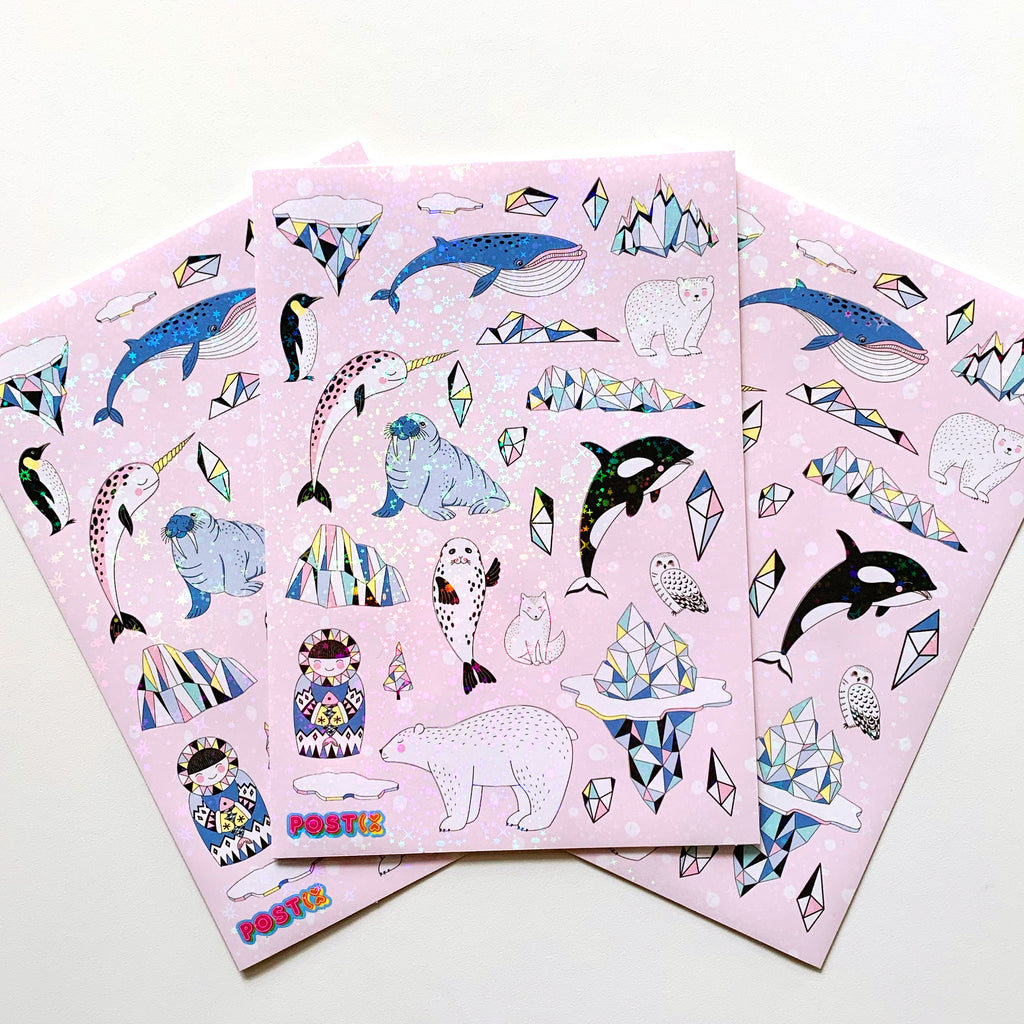 Arctic Sparkle A5 Hologram Sticker Sheet