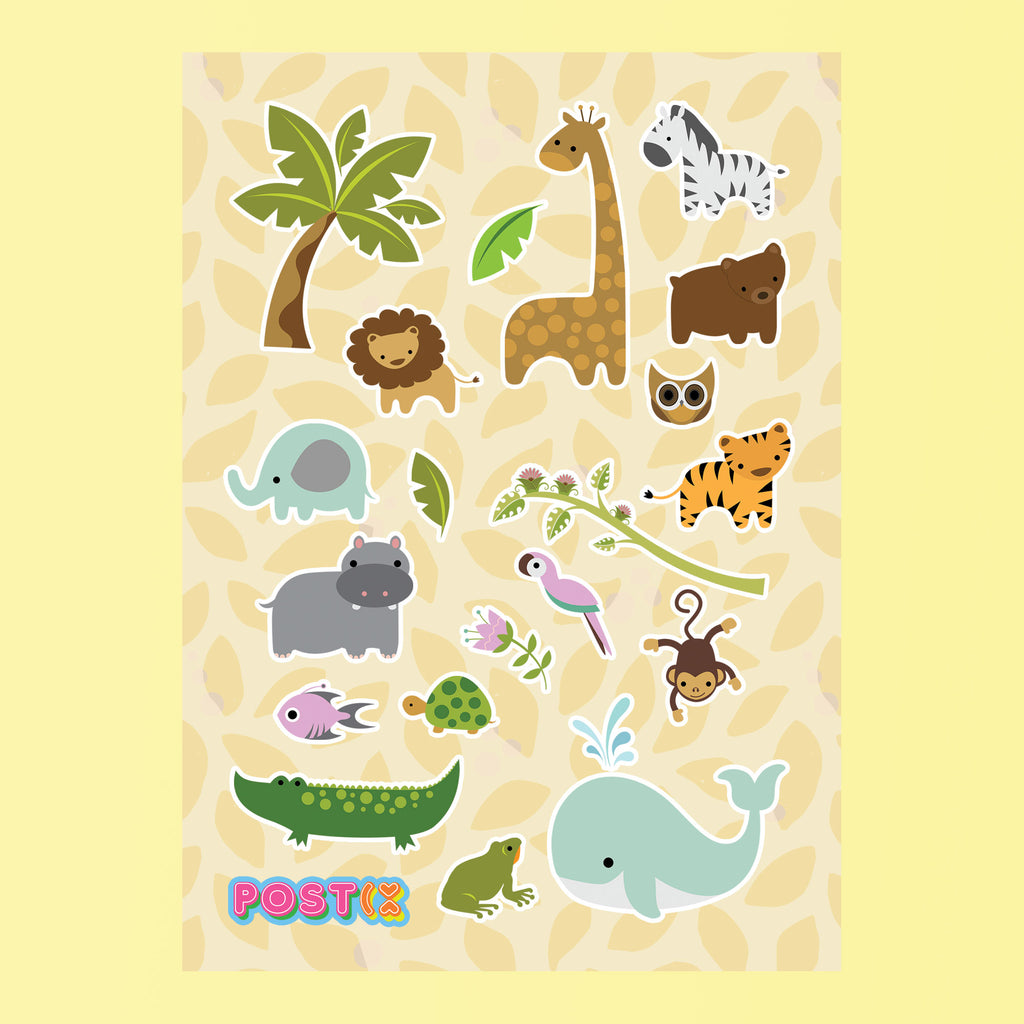 Wild Baby Animals Eco-Friendly A6 Sticker Sheet