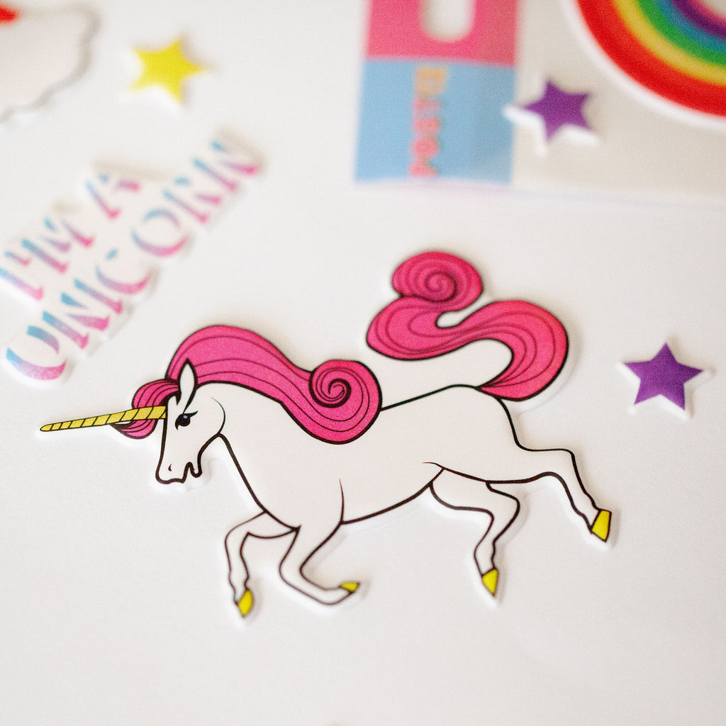 Believe in Unicorns 3D Sticker Sheet