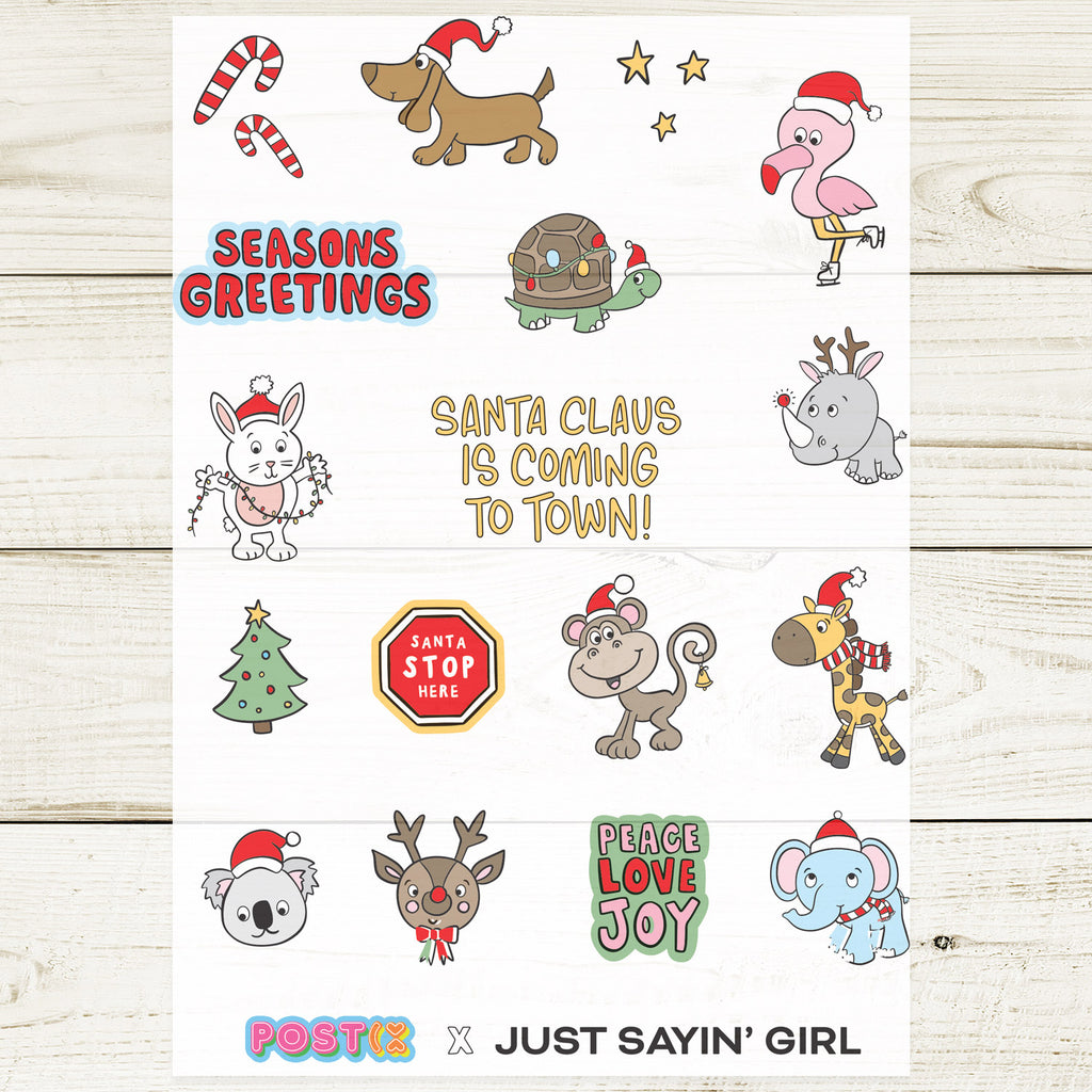 Just Sayin' Girl's Xmas Animals A5 Sticker Sheet