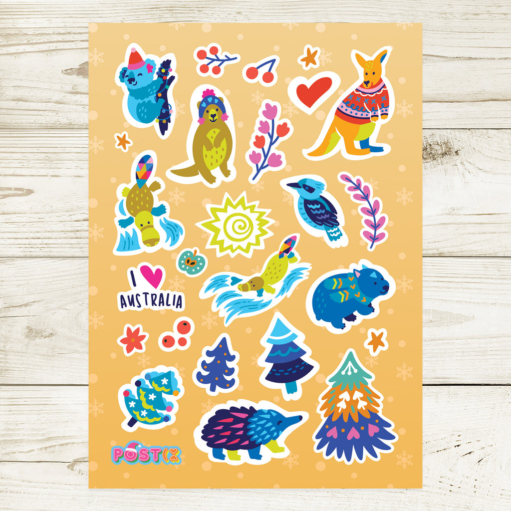 Aussie Christmas Animals A6 Sticker Sheet