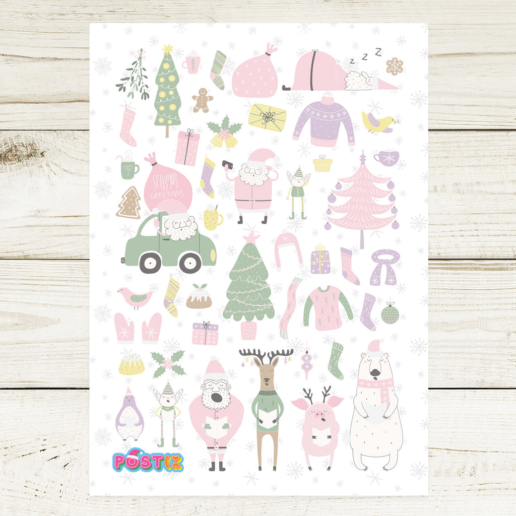 Quirky Christmas Carollers A6 Sticker Sheet
