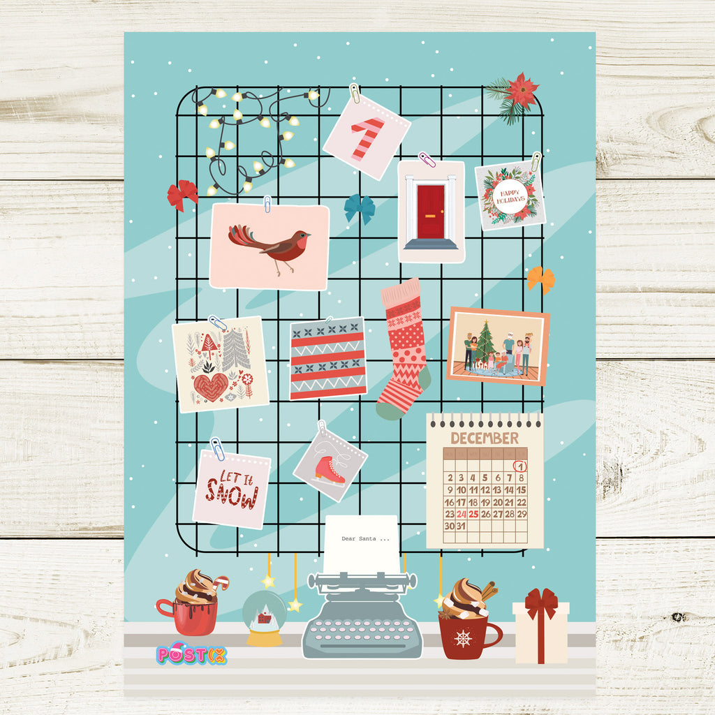 Christmas Desk A6 Sticker Sheet