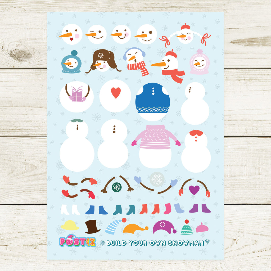 Build Your Own Snowman A6 Sticker Sheet