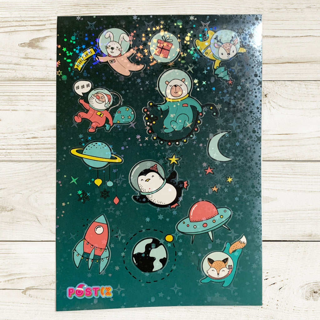 Outer Space Christmas Hologram A6 Sticker Sheet