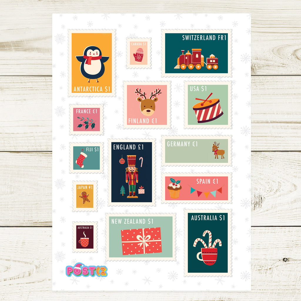 Christmas Stamps A6 Sticker Sheet