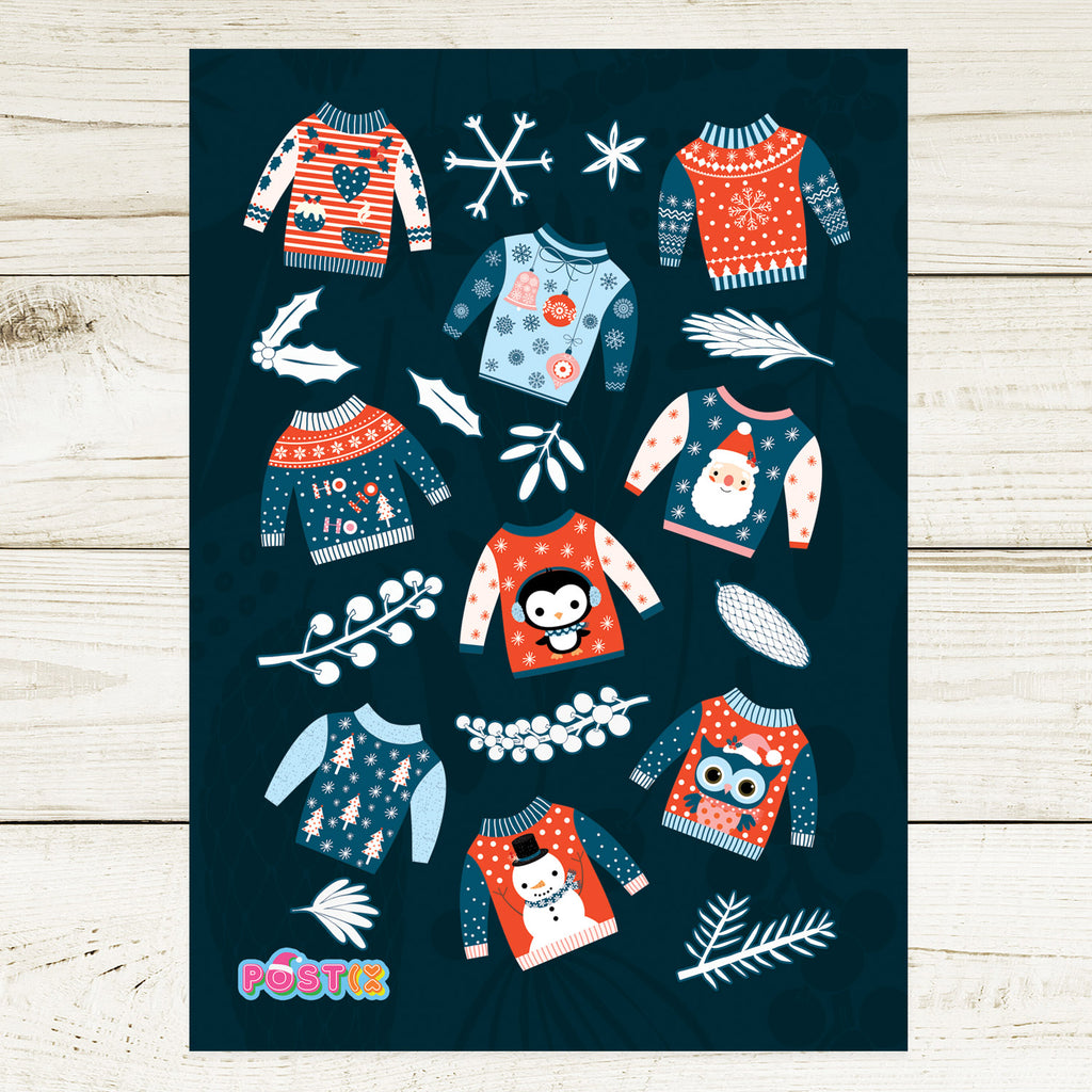 Cute Christmas Sweaters A6 Sticker Sheet