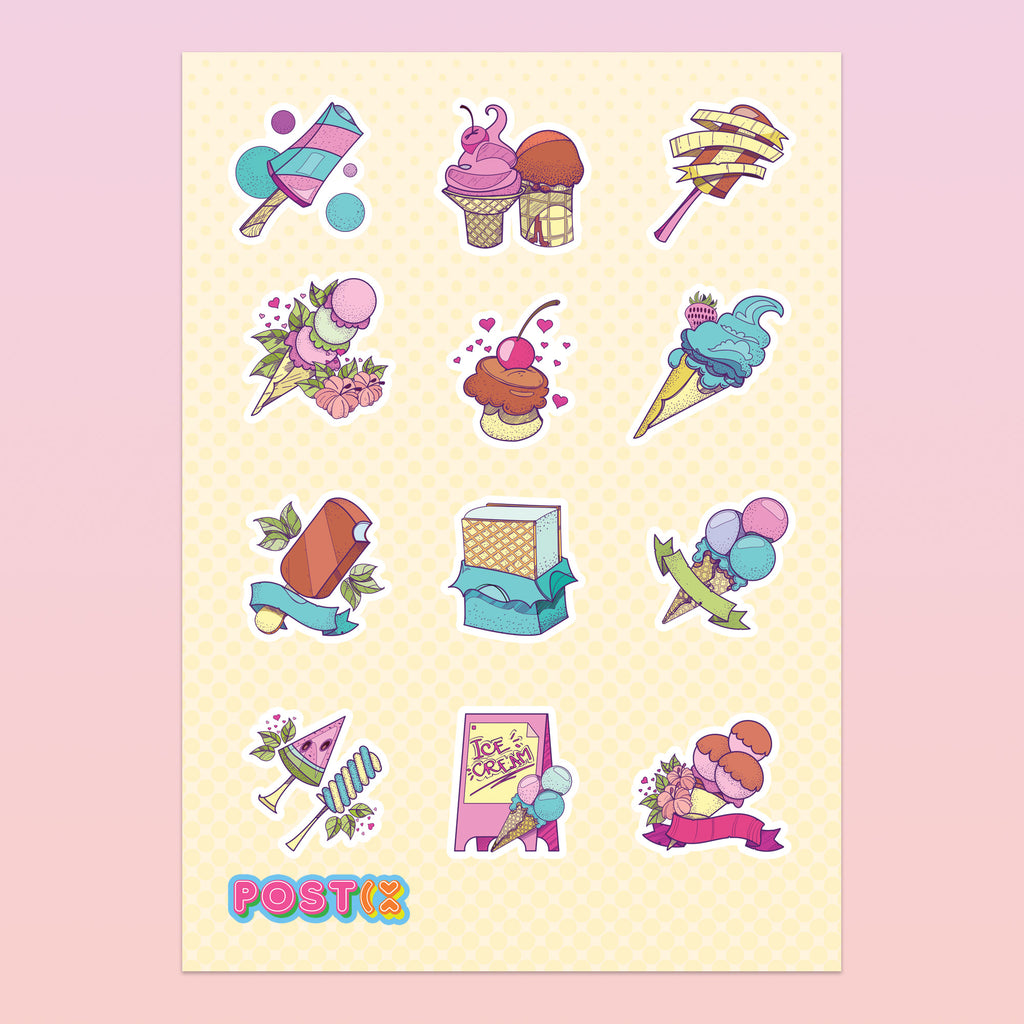 Designer Ice Creams A6 Sticker Sheet
