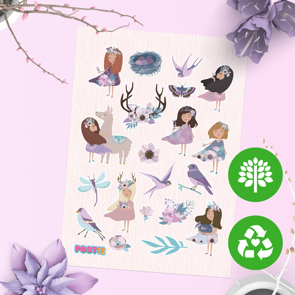 Spring Fairies Eco-Friendly A6 Sticker Sheet