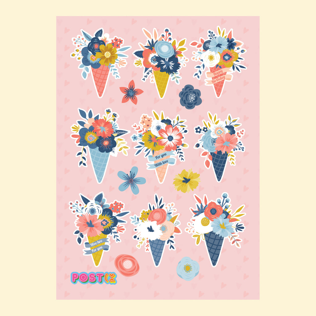 Floral Ice Creams A6 Sticker Sheet
