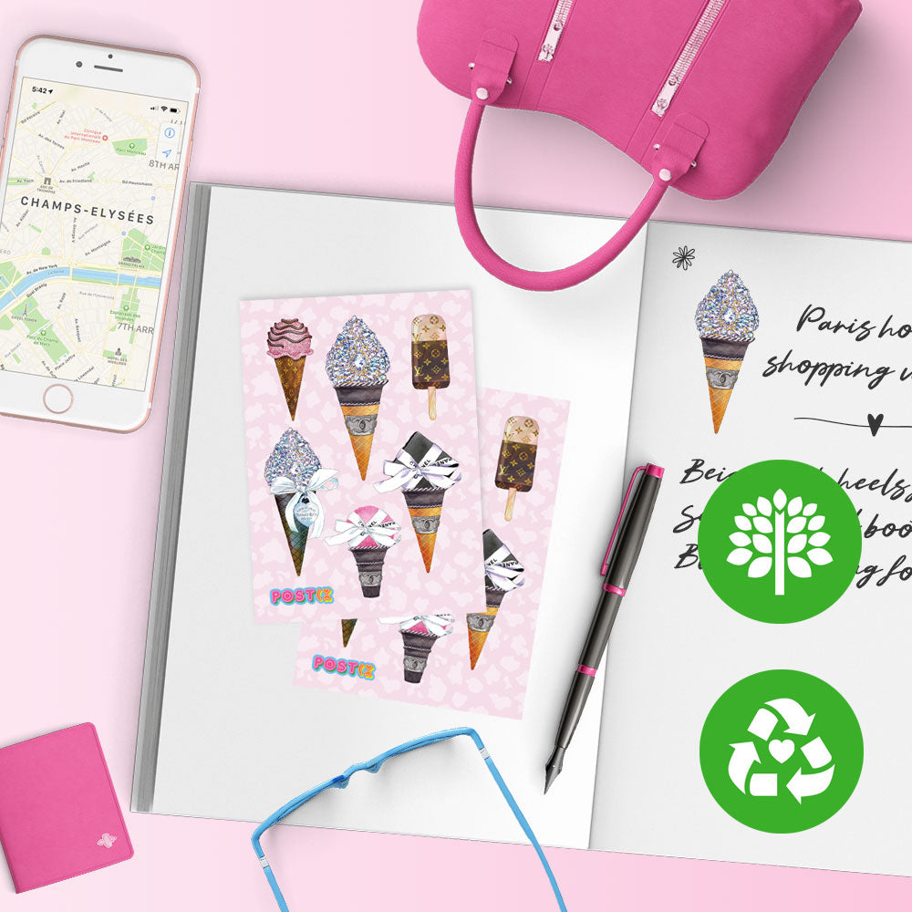 Glam Ice Cream A7 Eco-Friendly Sticker Sheet