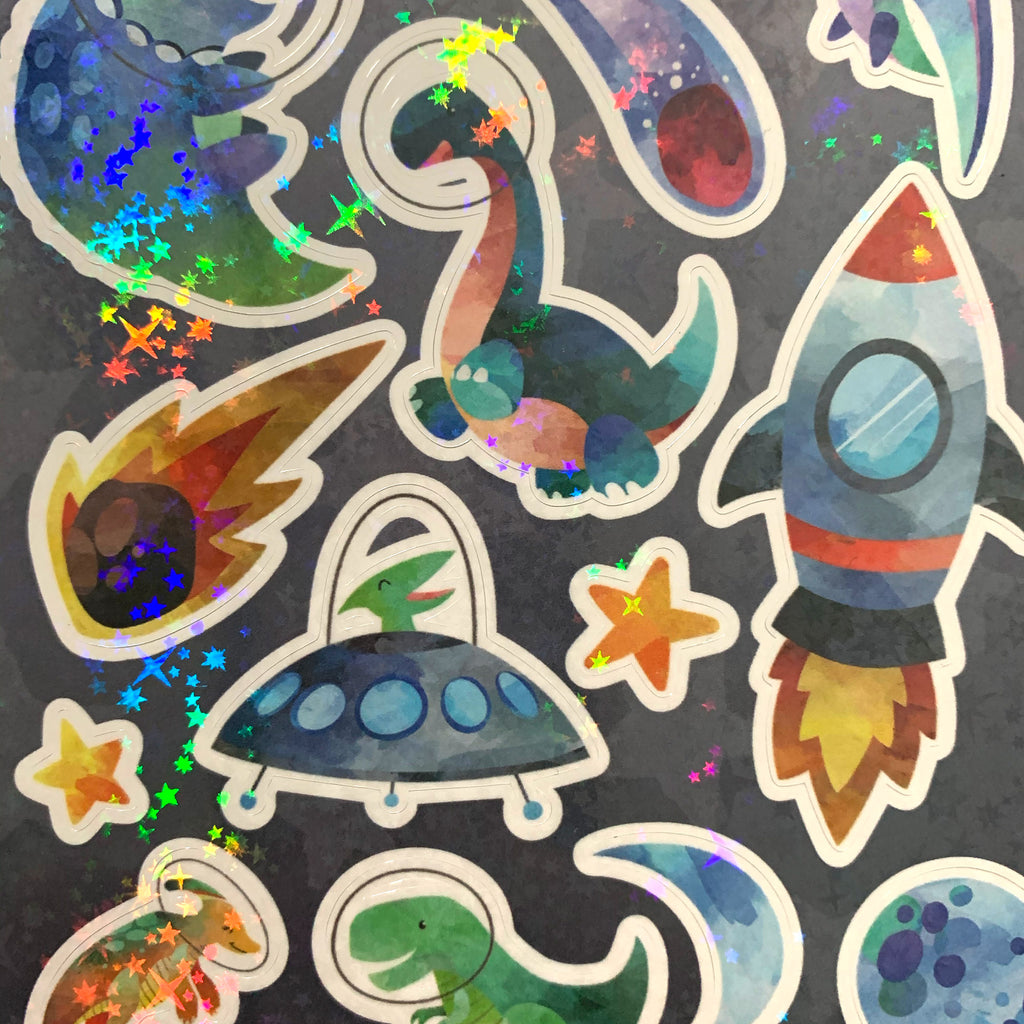 Space Dinos Hologram A6 Sticker Sheet
