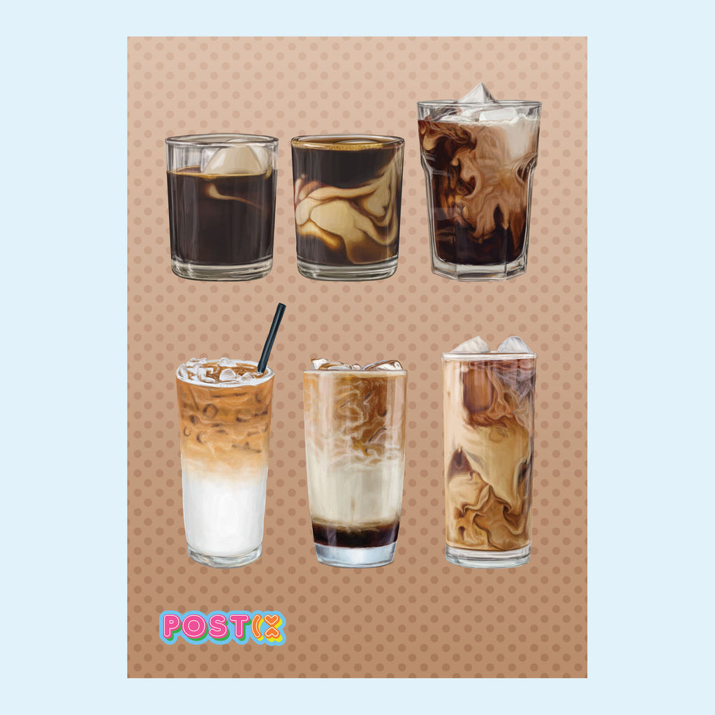 Iced Coffee Crush Eco-Friendly A7 Sticker Sheet
