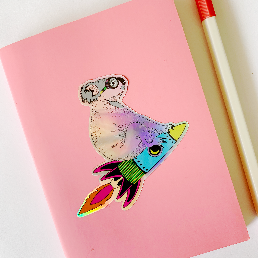 Koala Rocket Hologram Sticker