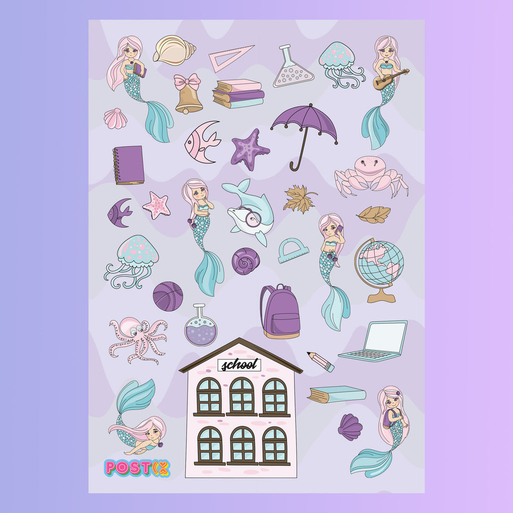 Even Mermaids Go to School A5 Sticker Sheet