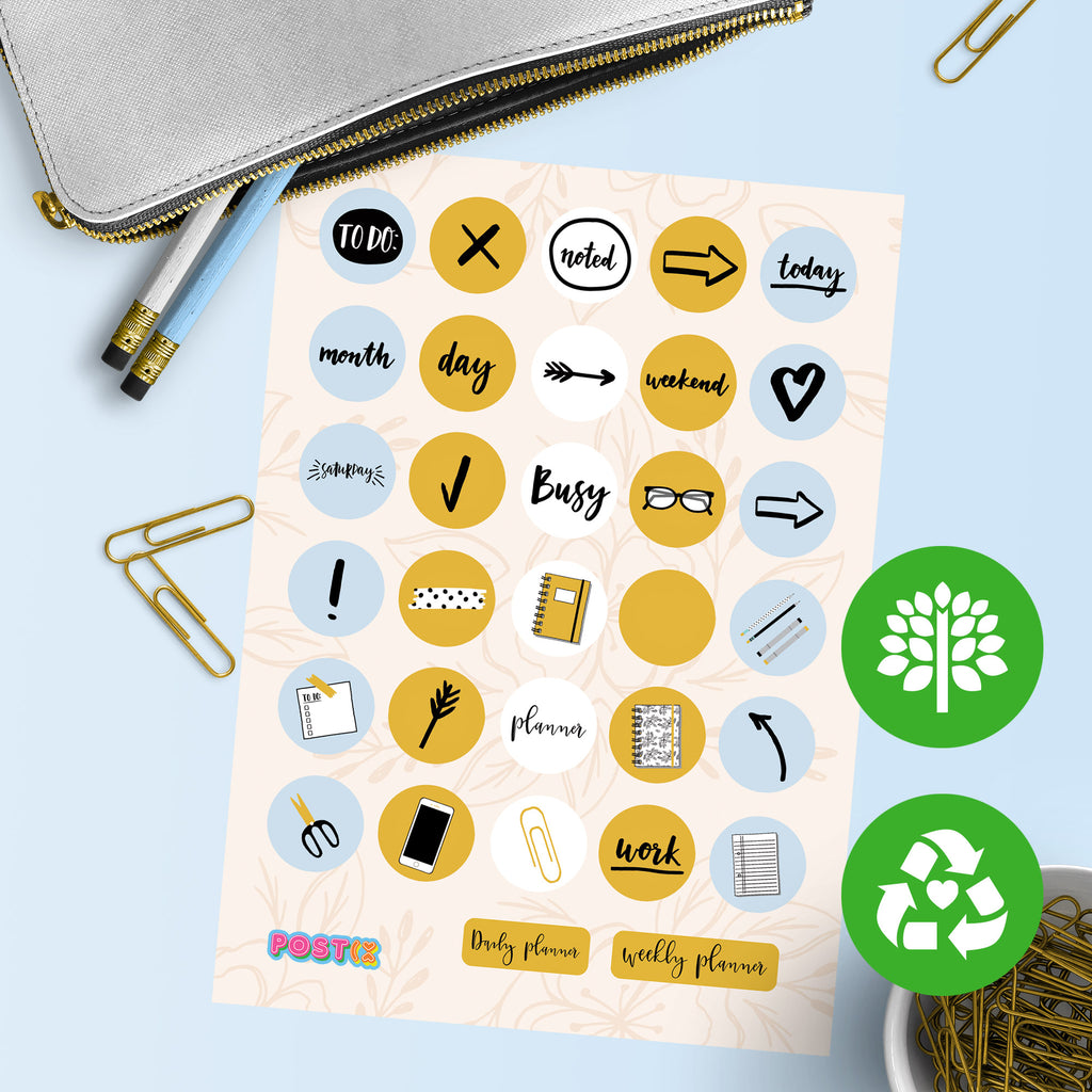 Organised Chic Eco-Friendly A6 Sticker Sheet