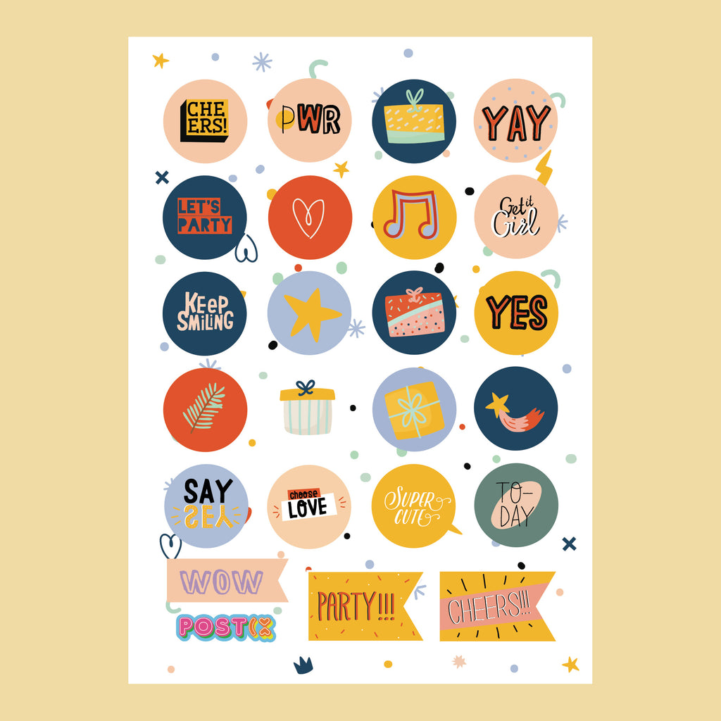 Party Planner A6 Sticker Sheet