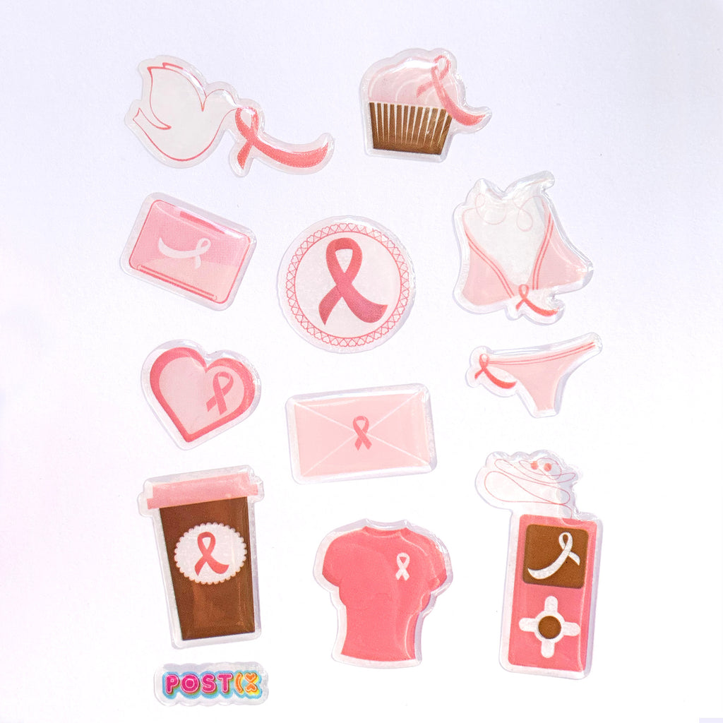Pink Ribbon A6 3D Sticker Sheet