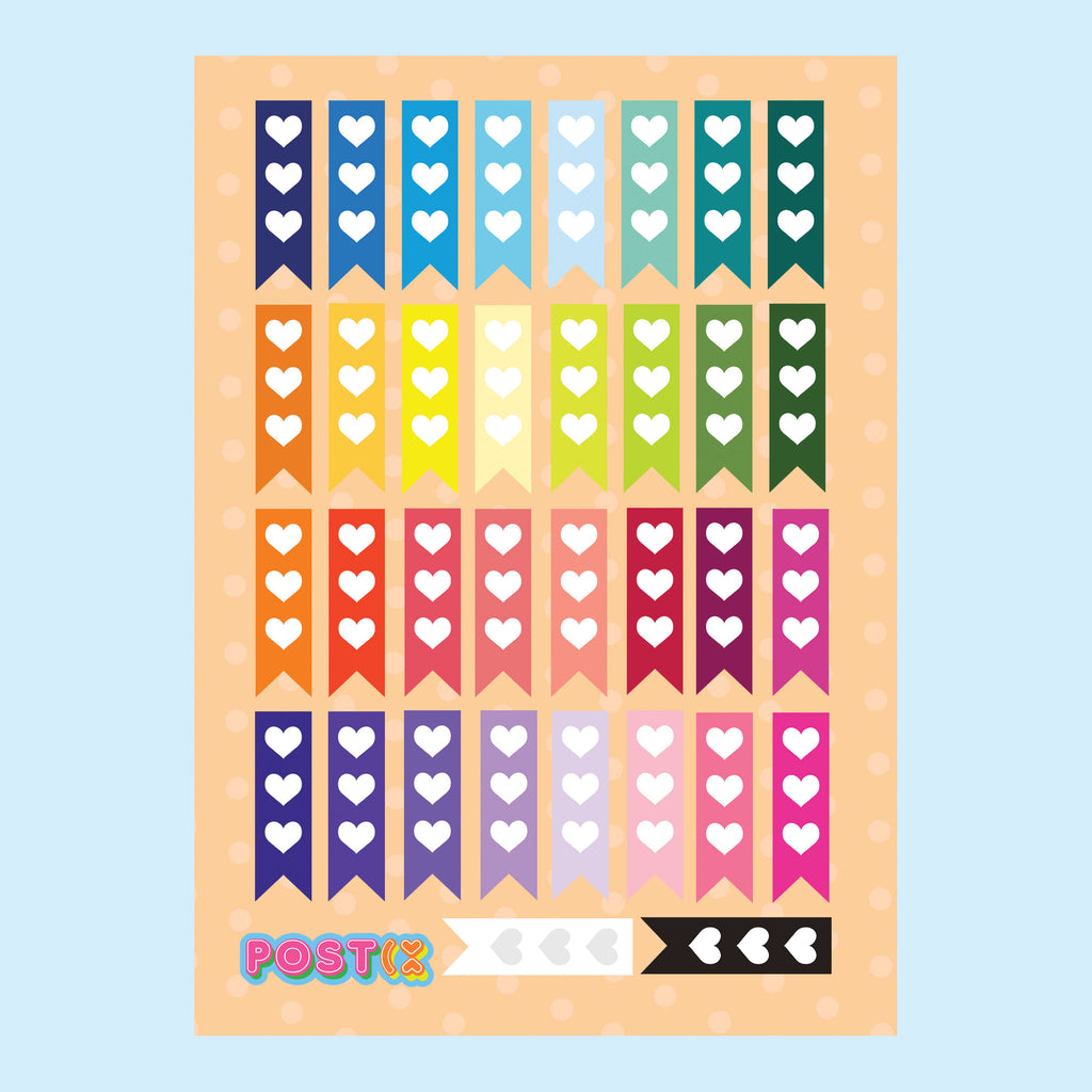 Rainbow Heart Planner Flags A6 Sticker Sheet