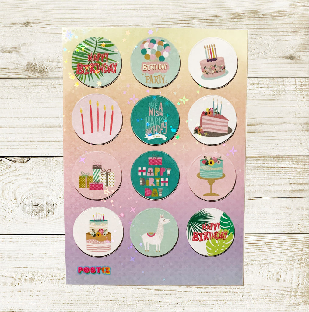 Birthday Party Seals Hologram A6 Sticker Sheet