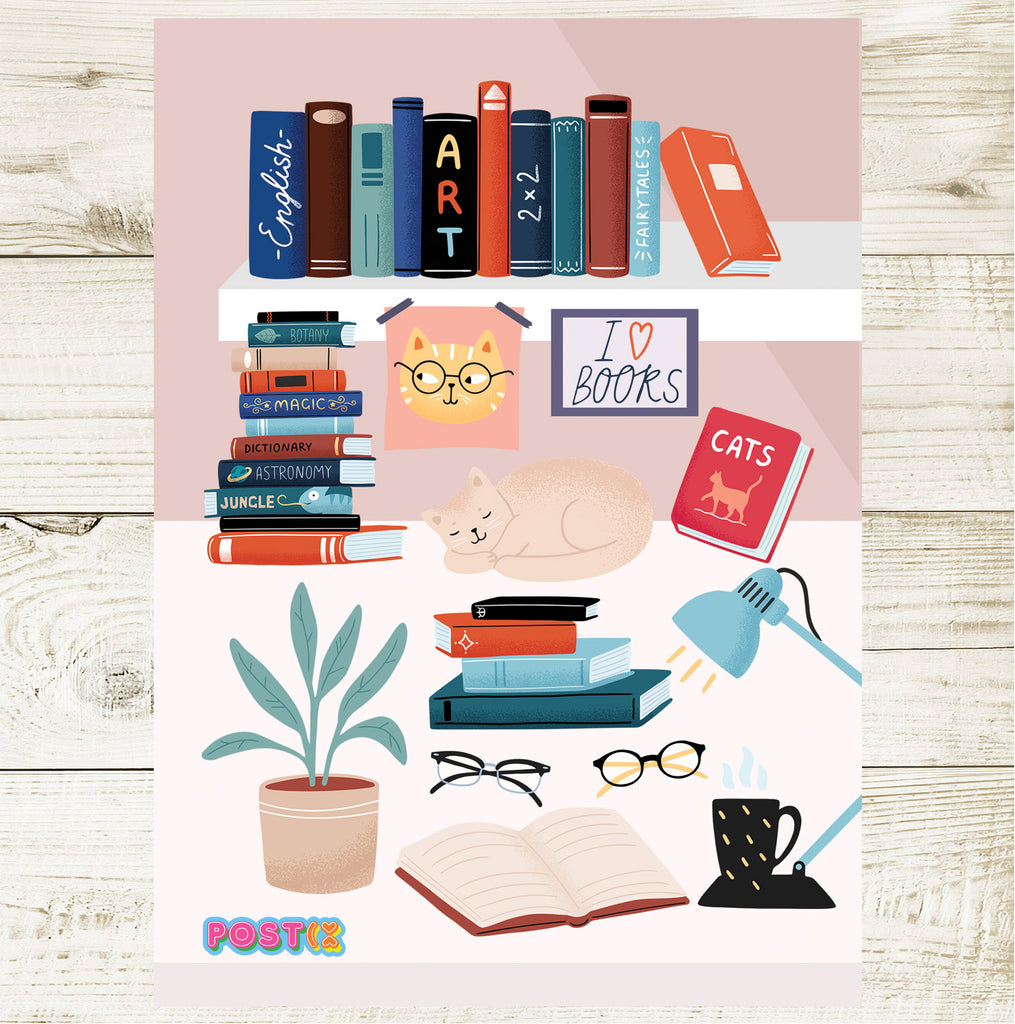 Book Lovers Desk A6 Sticker Sheet