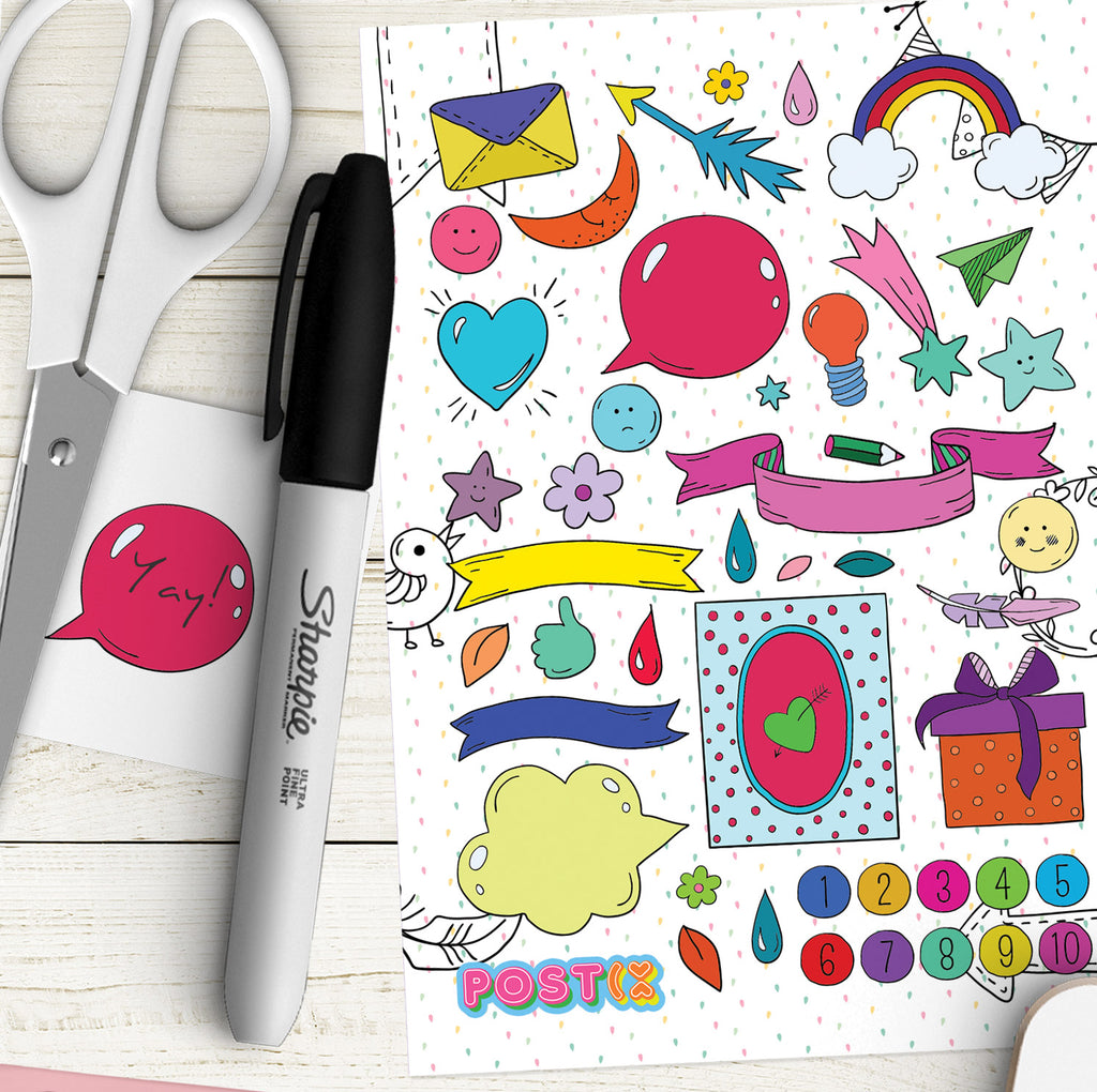 Cartoon Pop A6 Sticker Sheet